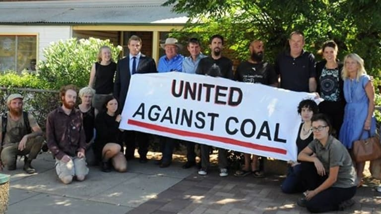 David Pocock with protesters outside Gunnedah Local Court