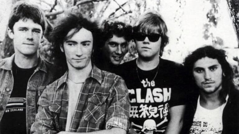 Nasser Sultan (far right) as drummer for Sydney rock band The Vultees in the mid '80s.