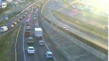 Traffic cameras show long delays on the Ipswich Motorway near Archerfield.
