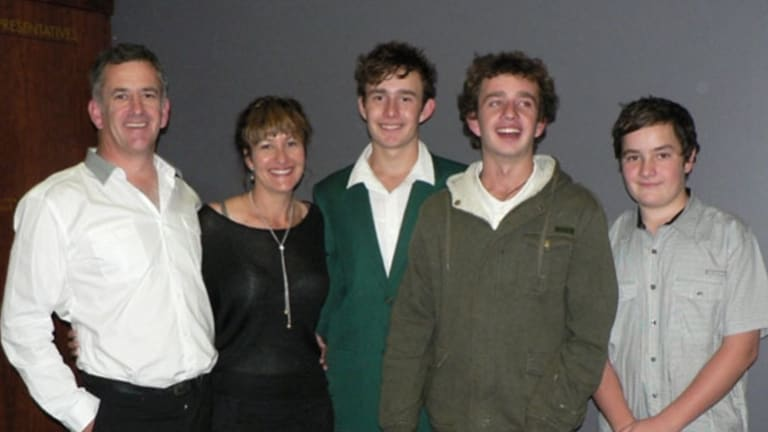 Liam Davies with his parents Tim and Lhani and brothers Connor and Keegan in a family photo.