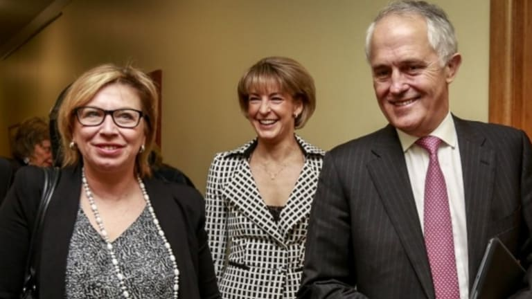 Australian of the year Prime Minister Malcolm Turnbull with Minister for Women Michaelia Cash at the announcement of the government's package to tackle domestic violence.