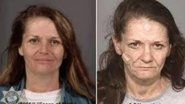 The picture on the right was taken after 2½ years of methamphetamine use.