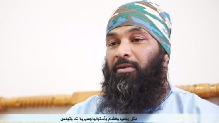 Mohomed Unais Mohomed Ameen, shown here in an Islamic State propaganda video, reportedly lived in Melbourne and carried an Australian passport.