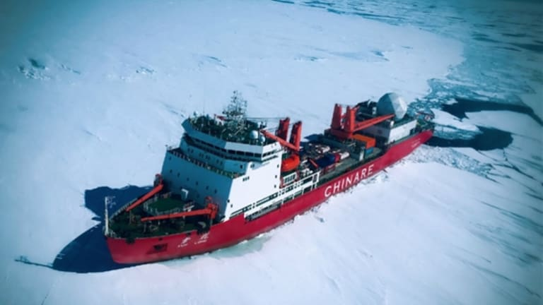 The icebreaker Xuelong (Snow Dragon) on a mission in the Antarctic in December 2016, part of the Chinese Arctic and Antarctic Administration (CHINARE).