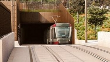 An artist's impression of a tram approaching the light rail bridge over the Eastern Distributor.