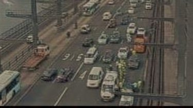 Traffic was heavy after a crash on the Sydney Harbour Bridge.