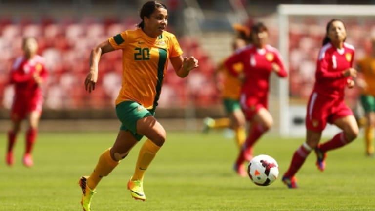 Ready to shine: Samantha Kerr of the Matildas controls the ball during a match between the Australian Matildas and China PR at WIN Stadium.