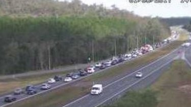 Bruce Highway delays extended back to Johnston Road at Glasshouse Mountains.