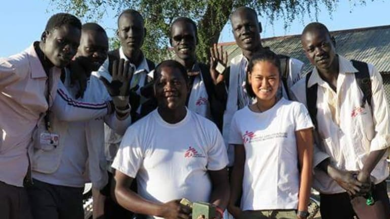 MSF nurse Jessa Pontevedra, centre-right, with national staff in South Sudan. She has just begun a mission in Kurdistan, Iraq.