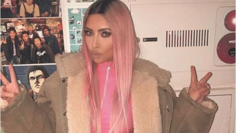 Kim Kardashian has been rocking her latest hair colour in Tokyo.