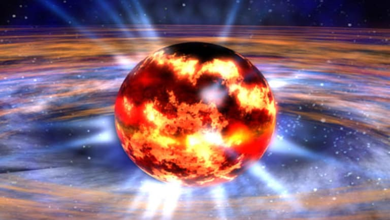A neutron star is the dense, collapsed core of a massive star that exploded as a supernova.