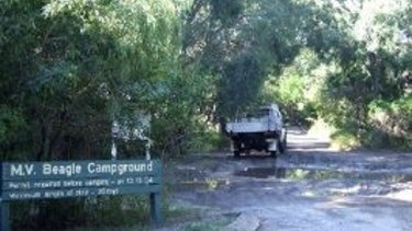 MV Beagle Campground at Inskip Point, north of Rainbow Beach where a sinkhole opened on Saturday night.