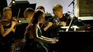 Amy Lee performs with a 28-piece orchestra at LA's Greek Theatre last  October.