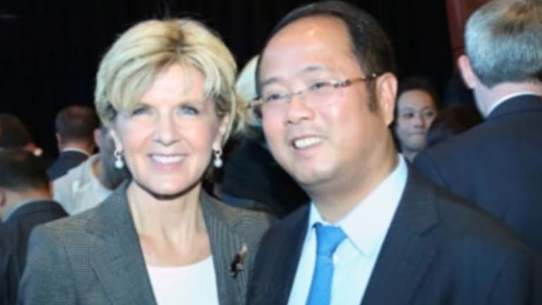 Huang Xiangmo with Foreign Minister Julie Bishop. Supplied