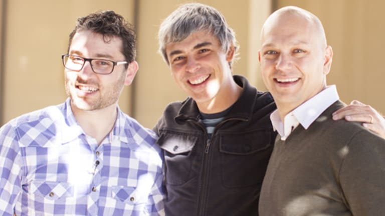 Acquired: Nest co-founders Matt Rogers (left) and Tony Fadell (right), with Google CEO Larry Page (centre).