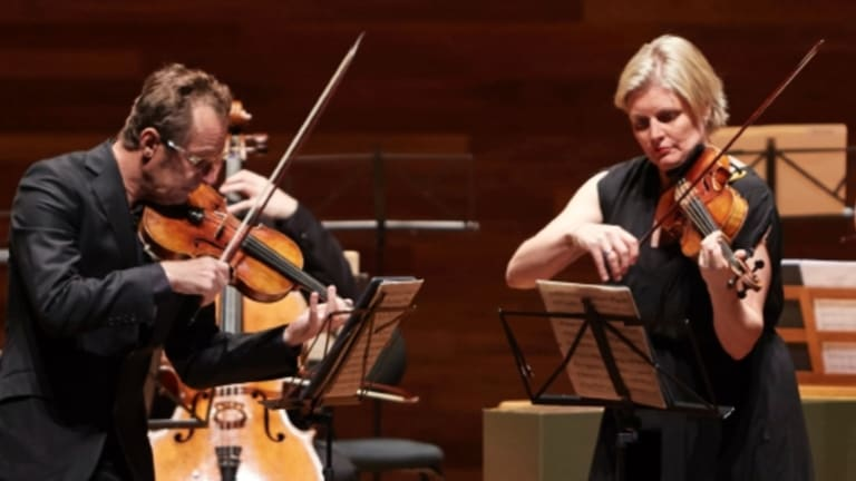 """Richard Tognetti and Helena Rathbone face off in the """"Bach Double""""."""