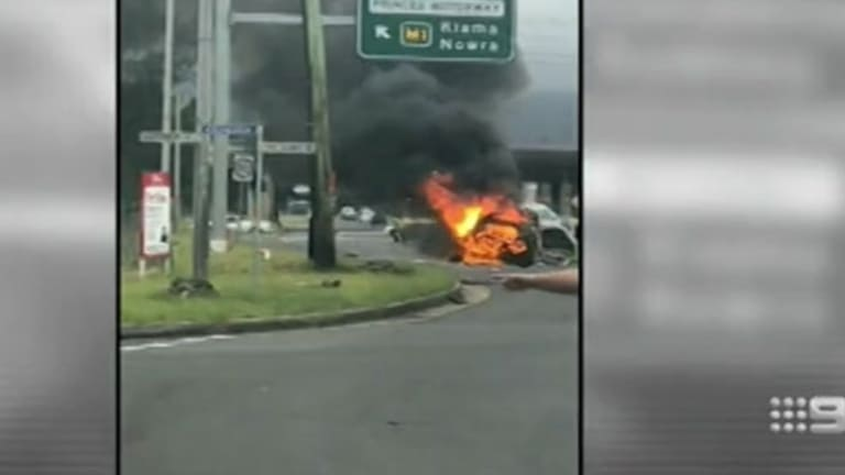 A motorist died in a fiery accident near Wollongong.