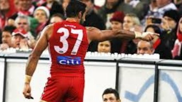 Adam Goodes calls out racism.