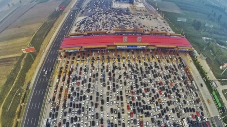 "The 50-lane traffic jam was dubbed ""carmageddon""."