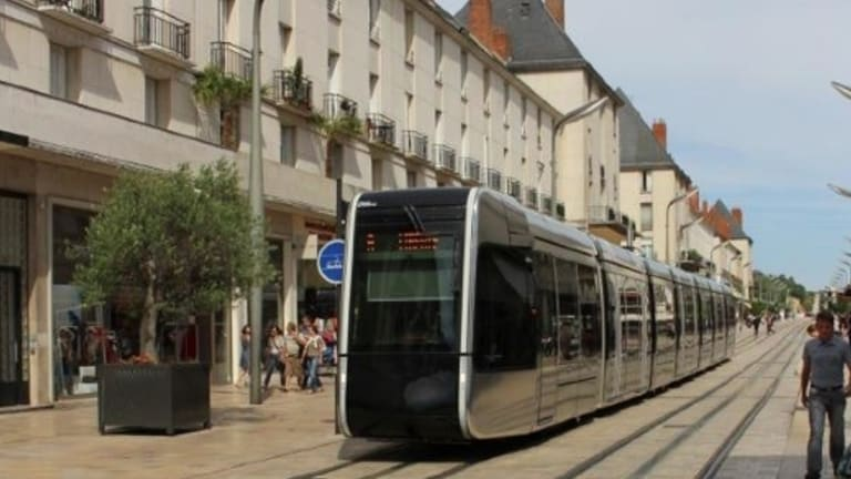 Trams run without overhead wires in Tours, France.