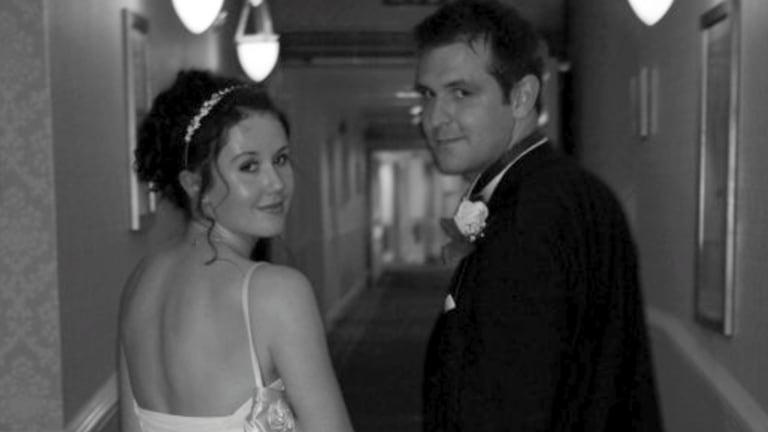 Tragic death: Jill Meagher and her husband Tom on their wedding day.