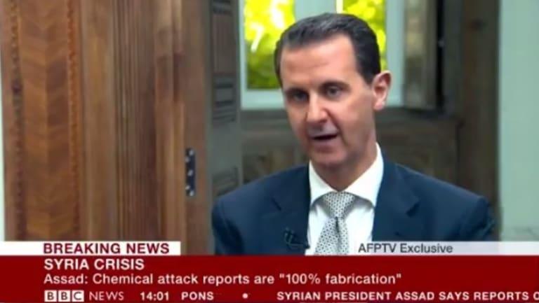 Syrian President Bashar al-Assad being interviewed by AFPTV in April.