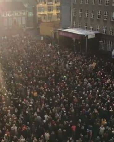 Women protest in Reykjavik, Iceland, after leaving work at precisely 2.38pm on an October day in 2016 in a protest about equal pay.