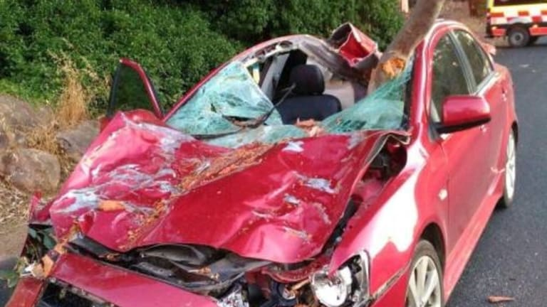Jockey Megan Taylor is lucky to be alive after a tree branch crushed her car days after Christmas.