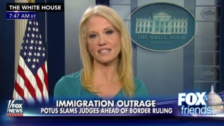 Kellyanne Conway spruiking Ivanka Trump's brand on Fox News.