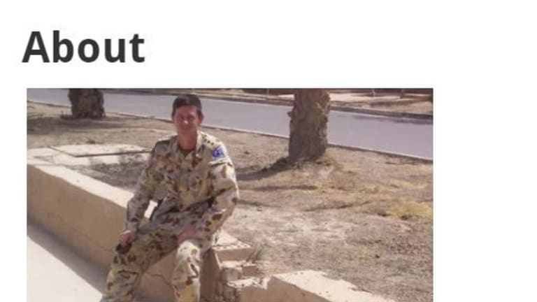 Bernard Gaynor's politically charged website includes a photograph of him wearing army fatigues.