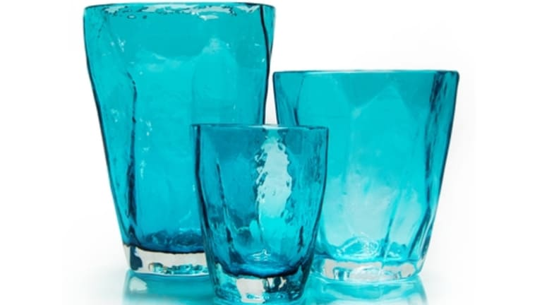 Soft Rocks glasses in teal, from $75.