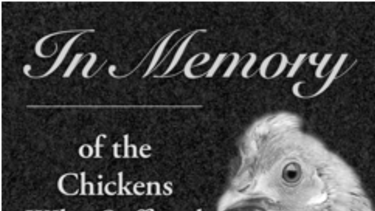 The tombstone animal rights group PETA wants installed next to a KFC where crates of chickens fell off a truck.