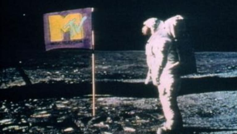 When it launched, MTV superimposed its logo over the American flag, on a photo of astronaut Buzz Aldrin standing on the moon.