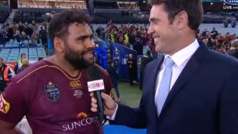 Sam Thaiday gives a post-match interview to Brad Fittler on Wednesday night.