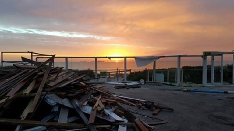 The rubble on the site of the former Salt on the Beach restaurant.