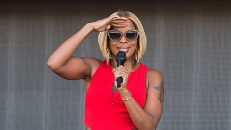 Mary J Blige performs at a British music festival in July.