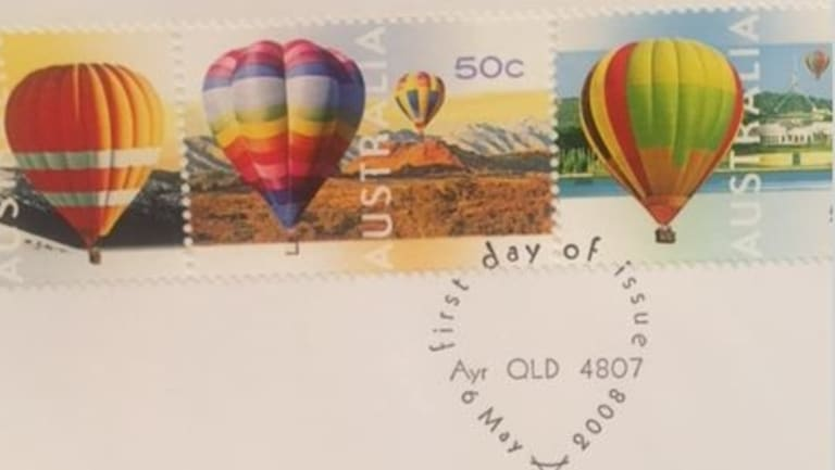 Ayr in Queensland, population 8000, selected for the national postmark on a hot-air balloon stamp series.