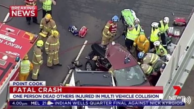 The scene of a crash on the Princes Freeway on Thursday.