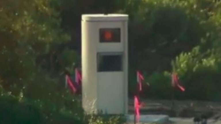 The fixed speed camera before it was damaged.