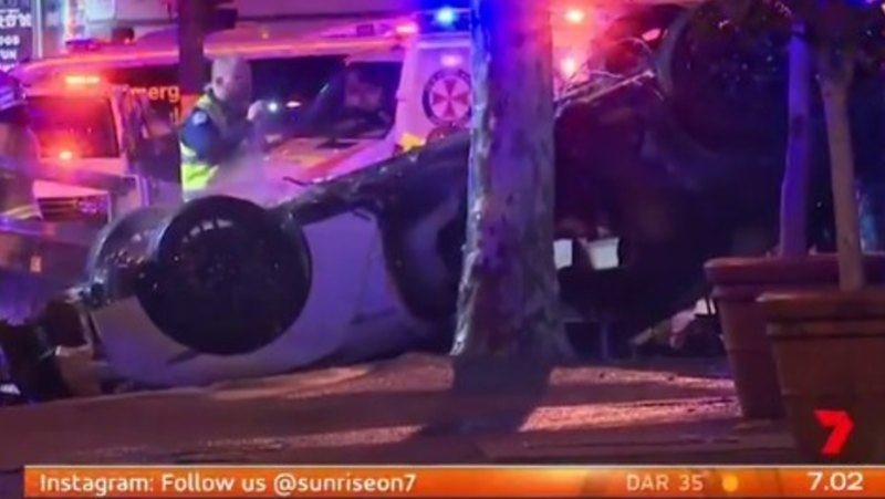 Three dead, one seriously injured, in fiery car crash in Sydney CBD