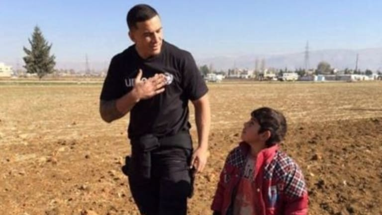 Sonny Bill Williams working as a Unicef ambassador in a Syrian Refugee camp in Lebanon.