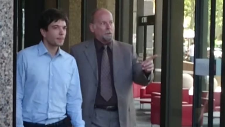 Expert witness Daniel Macek of Maverick Eye UG, left, and Michael Wickstrom of Voltage Pictures leave the court on Wednesday.