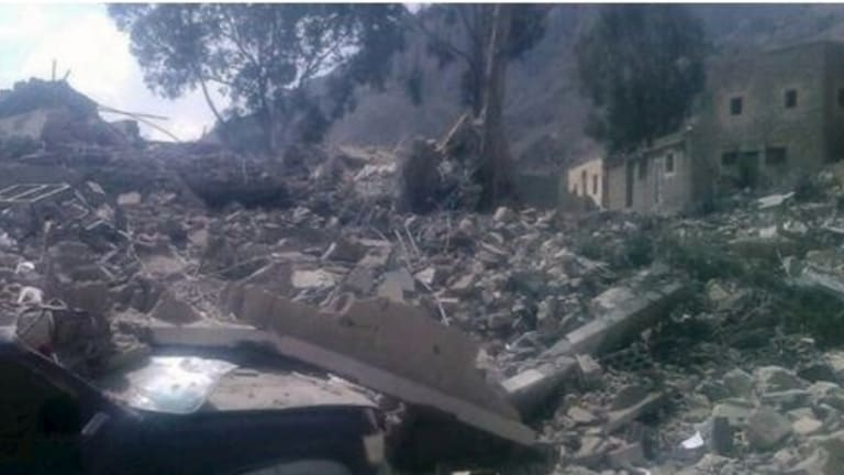 The remains of the MSF hospital in Yemen after the alleged air strike.