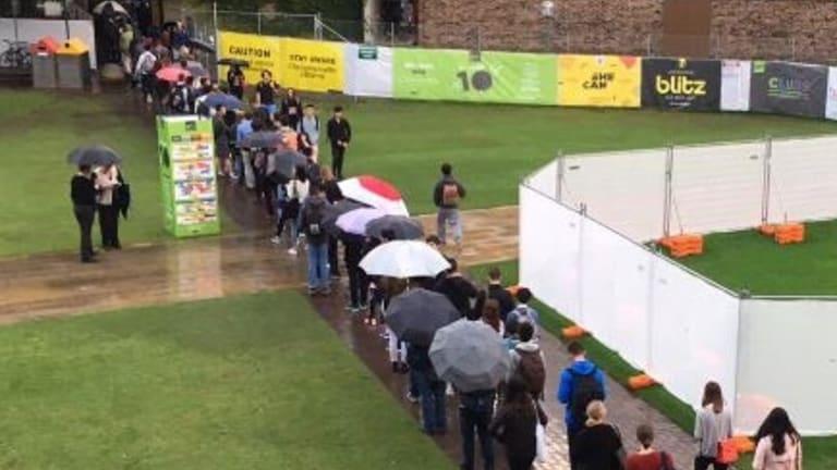 Students queueing.