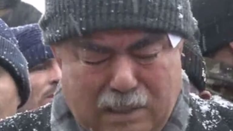 Afghan Vice-President Abdul Rashid Dostum is seen weeping during a song rendition on the day of the alleged abduction.