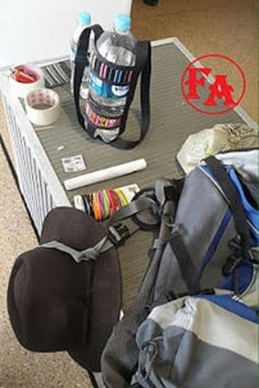 A photo published by several Bolivian media outlets showing the backpack and contents Bolivian police said could be used as a homemade explosive device.