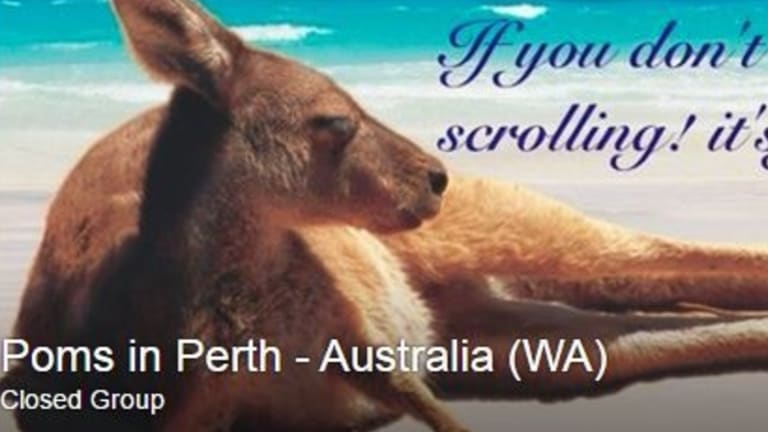 The 'Poms in Perth' Facebook page