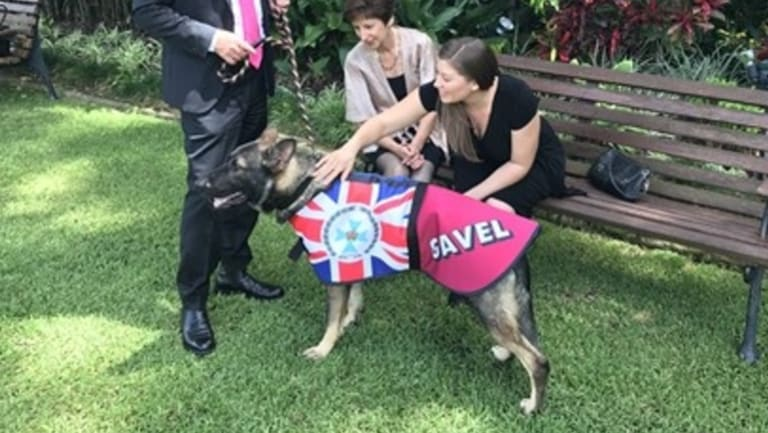 Gavel in his official coat meeting guests.