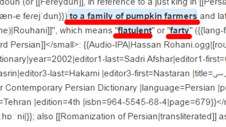 A Defence-lined edit to the Wikipedia page of Iranian president Hassan Rouhani.