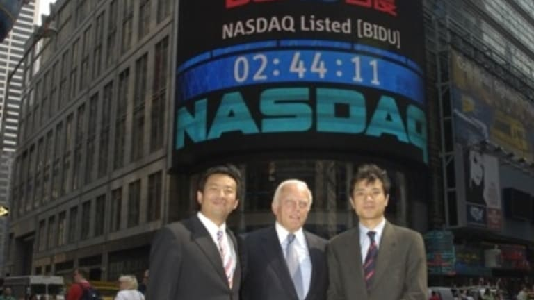 Roderick Thomson, pictured here with leaders of Baidu after on the day of its IPO, will join Melbourne's Global Pure Alpha Fund.